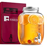 FineDine Glass Beverage Dispenser Mason Jar with Leak Proof Spigot, 1 Gallon
