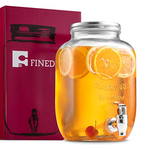 (FineDine Glass Beverage Dispenser Mason Jar with Leak Proof Spigot, 1 Gallon)