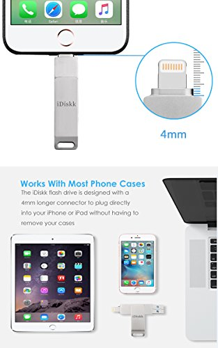 iDiskk iPhone Flash Drive 256GB ipad External Storage Photo Stick for iPhone X XR XS Max and New ipad pro pc MacBook Jump Drive with Touch id encryption (2 Years Warranty) by iDiskk (Image #5)