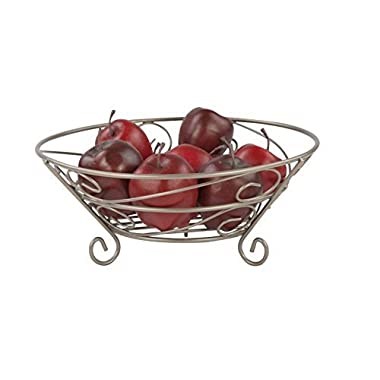 Home Basics Scroll Collection, Satin Nickel Fruit Basket