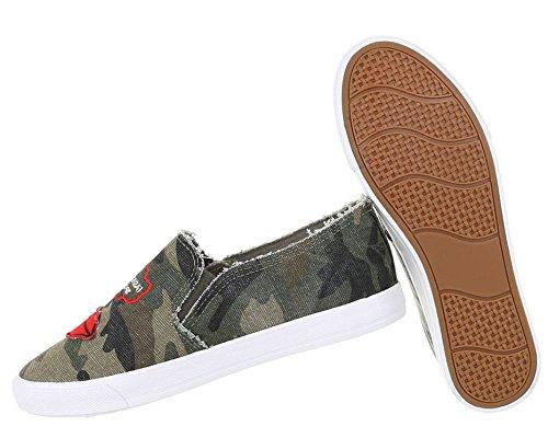 Damen Sneakers Jeans   Stoffschuhe Used   Sneaker Low   Stretch Schuhe Freizeit   Damenschuhe Turnschuhe   Stiefelette weiße Sohle   Plateau Jeans Sneaker   Schuhcity24 Khaki