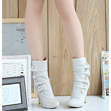Women's Boots Fashion Boots PU Winter Casual Fashion Boots Stiletto Heel Gray Black White 2in-2 3/4in White l0700