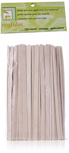 Clean Plus Easy Petite Eyebrow Wood Applicator Spatula, 100 Count
