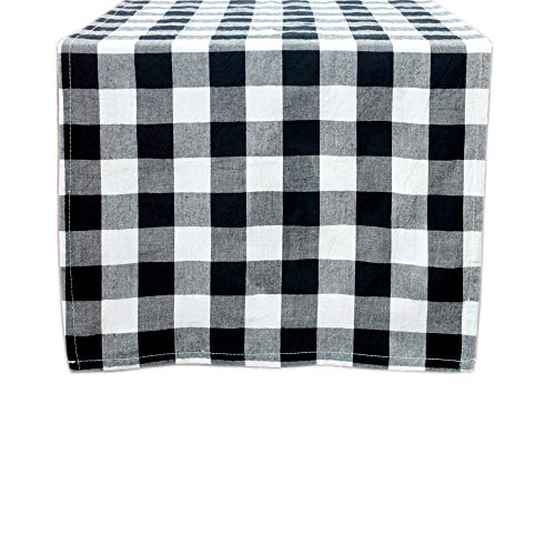 Grancens 100% Cotton Buffalo Plaid Check Table Runner for Thanksgiving, Christmas, Family Dinner or Gathering, Party, Picnic, Buffet, Wedding (14x72, Black & White)