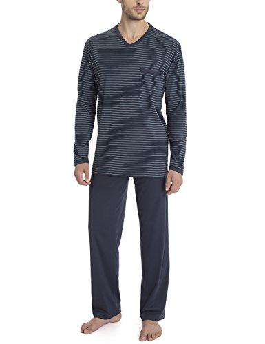 Calida Mens v-Neck Cotton Knit Pajamas Set Morris 41268 (Large, 478) (Cotton Calida Pajamas)