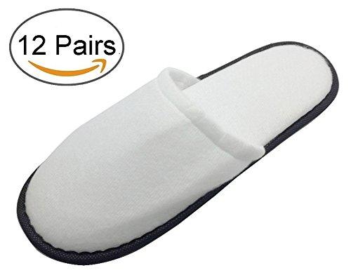 Travelwell Pantuflas Con Baño Cerrado Terry Spa Pantuflas Unisex Para Hombre Y Mujer 12 Pares Por Estuche Blanco