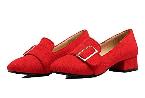 Mini Shoes Heel Up Microfiber Red Aalardom Women Lace 1WB7q4WRI