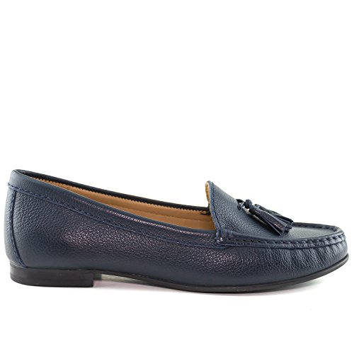 Palm USA Navy Grainy Loafer Leather Made in Beach Driver Club Womens Brazil w6npvxW