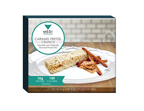 Medi-Weightloss Caramel Pretzel Crunch Protein Bars - High Protein (10g) - 100 Calories - for Hunger Control During Diet/Weight Loss - 7 Bars Per Box