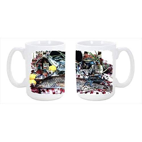 CoolCookware Fish and Beers from New Orleans Dishwasher Safe Microwavable Ceramic Coffee Mug 15 oz. from Cocobeen