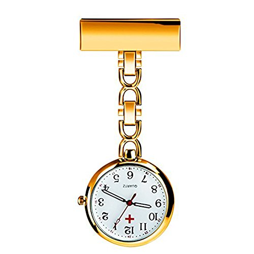 Powshop Nurse Lapel Pin Watch Hanging Medical Doctor Pocket Watch (Rose Gold)