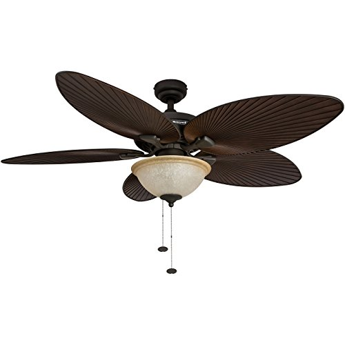 - Honeywell Palm Island 52-Inch Tropical Ceiling Fan with Sunset Glass Bowl Light, Five Palm Leaf Blades, Indoor/Outdoor, Bronze