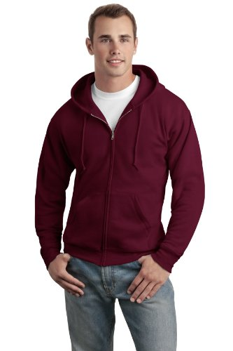 Sweatshirt Hoody Maroon (Hanes Men's Full-Zip EcoSmart Fleece Hoodie, Maroon, X Large)