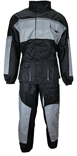 Motorrad Regenkombi Regenhose Regenjacke schwarz / grau Gr. XL