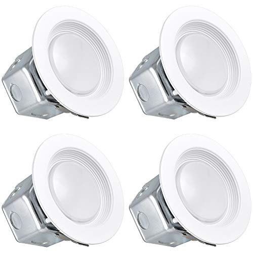 (Luxrite 4 Inch LED Recessed Light with Junction Box, 10W, 4000K Cool White, Dimmable Airtight Downlight, 780lm, Energy Star, IC & Wet Rated, 120V - 277V, Recessed Lighting Kit (4 Pack))