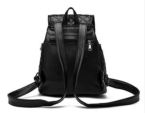 Zipper Backpack Black Pattern5 Leather Donalworld School Travel PU Bag Closure Women Double Candy qwXXx6StR