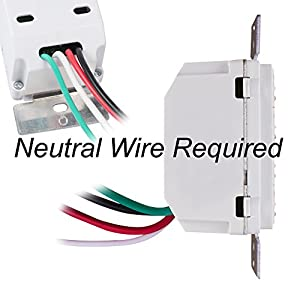 Century 7 Day Programmable In-Wall Timer Switch for Lights, fans and Motors, Single Pole and 3 Way (Compatible with SPDT) Both Use, Neutral Wire Required, White (Without Blue Backlight)