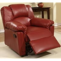 Poundex Espresso Bobkona Rocker Recliner in Bonded Leather, Burgundy