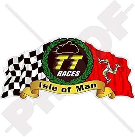 Isle Of Man TT Race Mannois Moto GP Racing 7,6/cm Stickers x2 bike-helmet en vinyle autocollants 75/mm