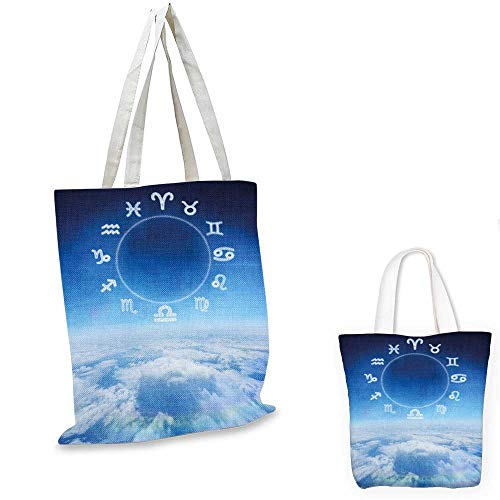 Astrology canvas laptop bag Zodiac Signs Aquarius Pisces Aries with Sky Clouds Backdrop Art Print foldable shopping bag Sky Blue and White. 12