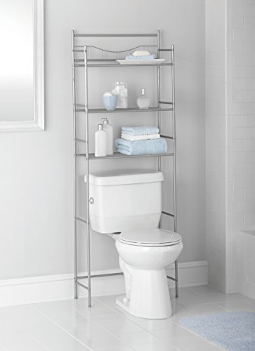 Mainstays 3-Shelf Bathroom Space Saver, Satin Nickel Finish. Fits Most Standard Toilets. (3 Shelf Space Saver)