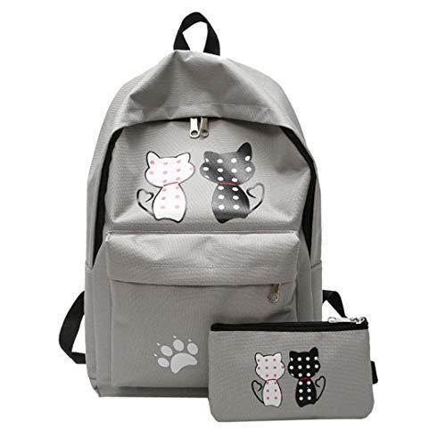 Korean Student Print Cat Travel Canvas Backpack by Boygirl