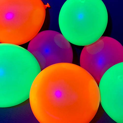 Glow Balloons Reactive To Blacklight for UV Neon Glow In The Dark Parties - 100 x 11