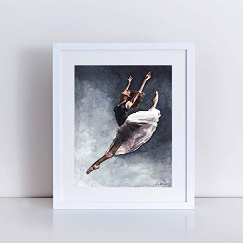 Misty Copeland Leap Art Print Watercolor Painting Ballet Ballerina Inspirational Joyful Girls Room Wall Decor African American Dancer Dance Studio Canvas Gift for Her