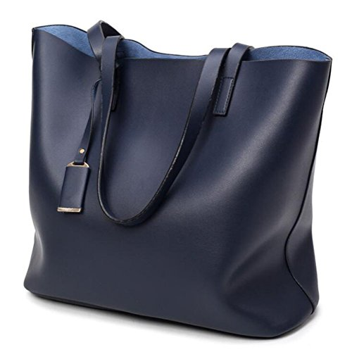 Ladies PU Tote 1 Capacity With Handbag Large Leather 2 in DcSpring Shoulder Removable Bag Pouch Bags Blue Women's fq5nA0