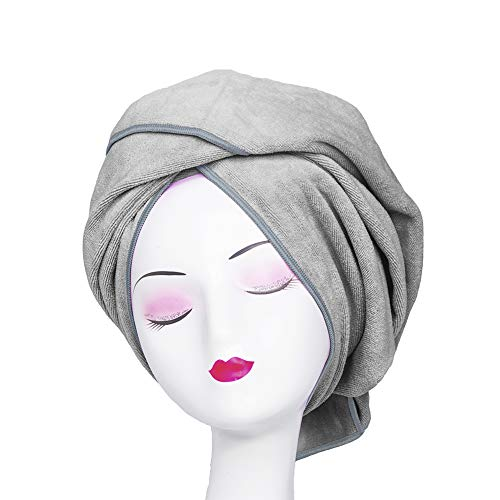 Microfiber Towel for Curly Hair Large Anti Frizz Super Absorbent Hair Towel 23.6''x47'' Fast Hair Drying Towel Hair Wrap fo Bath Spa Facial Makeup, Gray