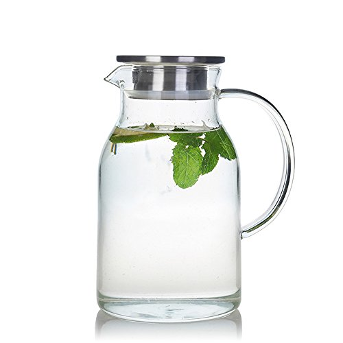 - 68 Ounces Glass Pitcher with Lid, Water Jug for Hot/Cold Water, Ice Tea and Juice Beverage