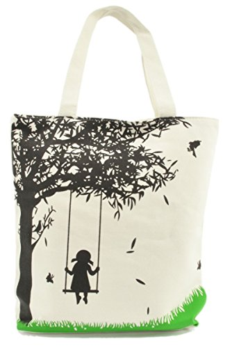 [LSW Girl on Swing Canvas Tote Bag (Black Tree)] (Girl On A Swing)