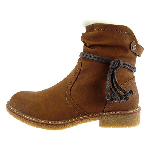 neige lacets 5 2 fourrure Chaussure CM Fourrée Camel Bottine Talon Femme boucle mode bloc Intérieur Angkorly cavalier bottes de wpX6zwOq8