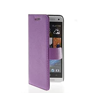 KCASE Litchi Skin Flip Leather Wallet Card Holder Pouch Stand Case Cover For HTC One Mini M4 Purple