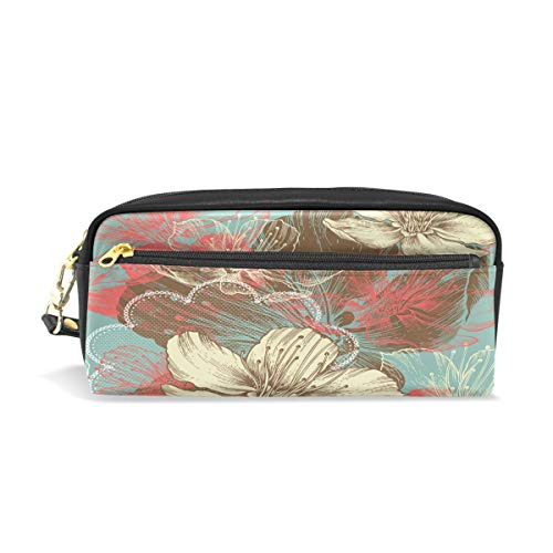 Abstract Flower Leather Student Pencil Case Cosmetic Pen Bag Makeup Pouch for Teen Girl ()