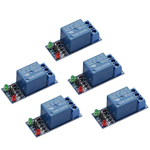 - ZYAMY 5-Pack DC 5V 1 Channel Relay Module Interface Board Shield Low Level Trigger for SCM Household Appliance Control