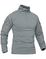 KEFITEVD Mannen Slim Fit Militaire Tactische Lange Mouw Shirt 1/4 Front Zip Camouflage Airsoft Shirts Outdoor Combat t Shirt