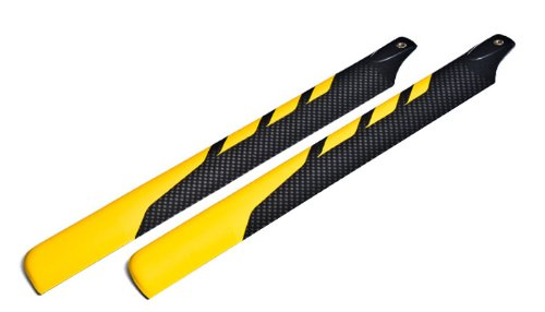 EXI-500 Carbon Fiber Main Blade for Electric 500 RC Helicopter (430mm-Yellow) EXI-Pro-4301-Yellow (Carbon Mm Fiber 430)