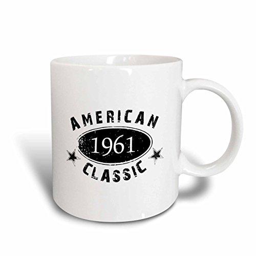 (3dRose 3dRose 1961 American Classic - Personalized Birth Year Birthday gift - black grunge vintage look - funny - Ceramic Mug, 11-ounce (mug_161775_1), White )