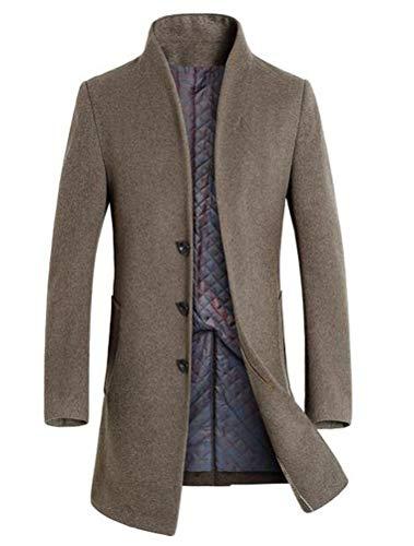 Mordenmiss Men's Winter Woolen Long Trench Coat Business Outfit Down Jacket Fleece Khaki XL (Business Coat Men)