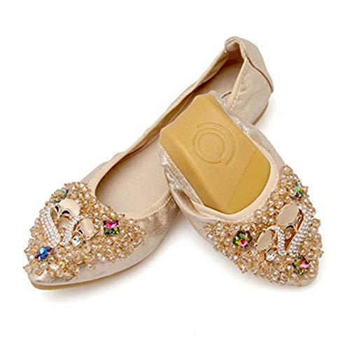 Zapatos la la señaló y UE FLYRCX de de Rhinestone Las Trabajo cómodos Solo Zapatos 38 Manera Boca de Baile Planos Zapatos de Suaves 40 Plegable Zapatos de Zapatos EU Superficial Mujeres Embarazadas E8SqY