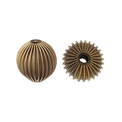 Vintage Metal Beads, Corrugated Round Beads 20mm, 6 Pieces, Antiqued (Corrugated Round Metal Beads)