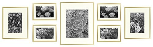 Golden State Art, Metal Wall Photo Frame Collection, Set of 7, Aluminum Gold Photo Frame with Ivory Color Mat & Real Glass