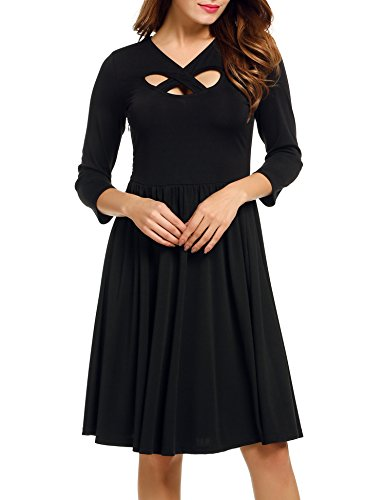 ACEVOG Women's Cross Neck Cut Out 3/4 Sleeve Fit and Flare Party Pleated Dress