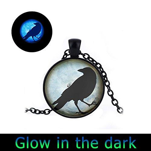 Glowlala glow Crow Necklace Black Bird Jewelry Blue Raven Silhouette Photo necklace Charm Round Keepsake Pendant (3) Raven Keepsake