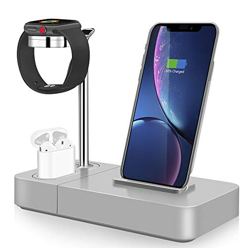 TGHUNAG Wireless Charging Station 3 in 1 Wireless Charger Stand for Phone Watch and Airpods Qi Fast Charger Dock (Included Watch Charger) Suitable for AirPods, Not AirPods Pro