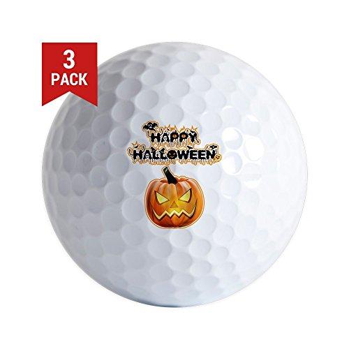 Golf Balls (Set of 3) Happy Halloween Pumpkin ()