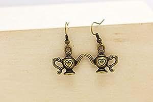 Teapot Dangling Earrings, Antique Bronze Charm, Bronze, Miniature, Retro Style Earrings