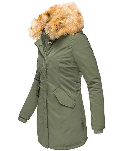 Marikoo Pelliccia Sintetica Con Da Karmaa Large – Verde Parka Cappuccio Extra Invernale Donna rqrZOAw6