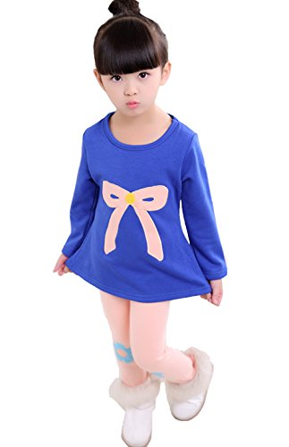 Upopby Girls Outfits Clothes Cartoon Thick Velvet 2pcs Sweater Pants Sets Blue 130